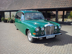 Green Daimler DS420 converted for bio-deisel
